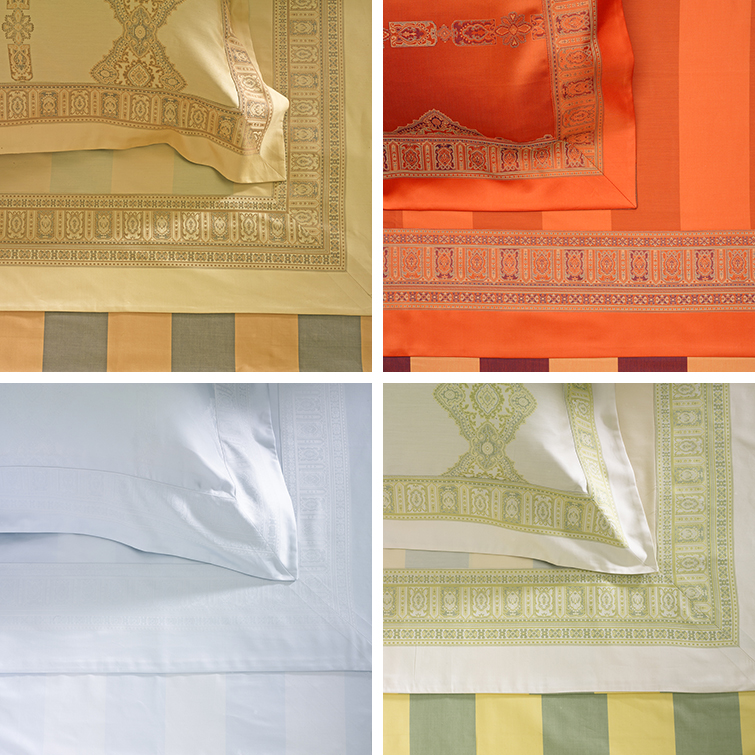 Persia sheets in camel, orange, spaqua, and green